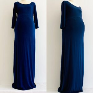 night blue long maxi maternity dress