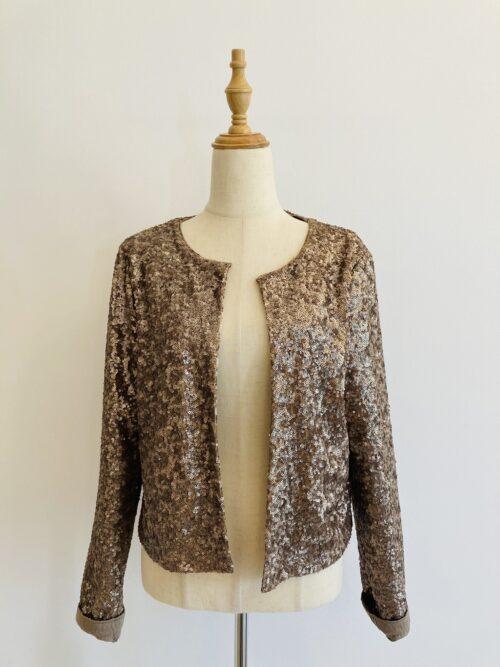 all sequins golden vest jacket