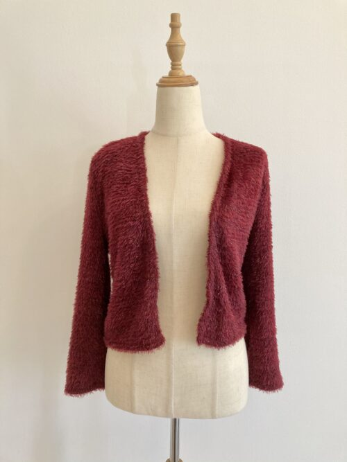 red shimmering haired jacket