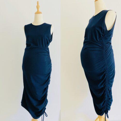 navy blue bodycon maternity dress