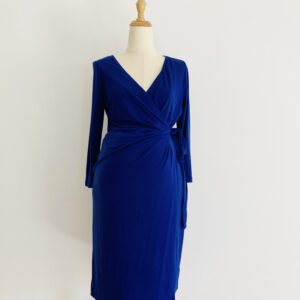 blue aubergine maternity wrap dress