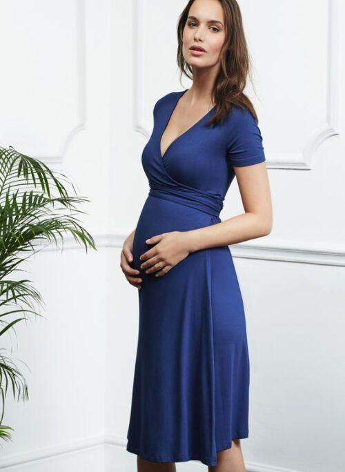 night blue wrap dress