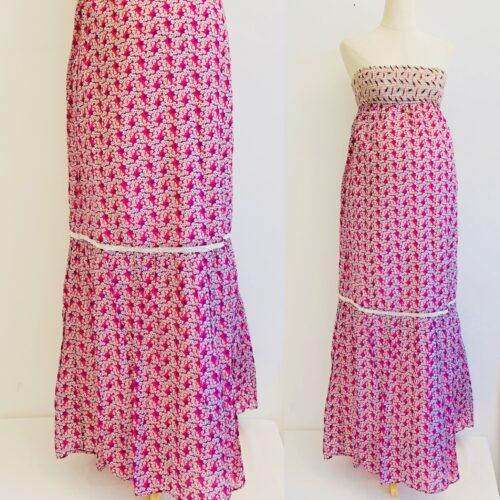 flower strapless maxi dress